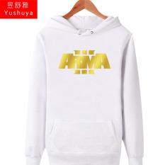 Arma3 Tambah Beludru Pria Siswa Permainan Sweater On Tanpa Kancing Atasan Kaos Sweater (Putih Cetakan Emas)