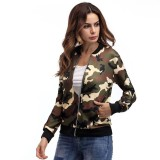Spek Army Green Camouflage Jacket Women Fashion Loose Stand Collar Long Sleeve Zipper Casual Tops Outwear Coat Intl