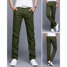 Beli Hijau Tentara Baru Pria Bisnis Kasual Slim Pants Solid Celana Fashion Lurus Pria Kargo Celana Pria S Pakaian Ukuran 28 40 Intl Murah