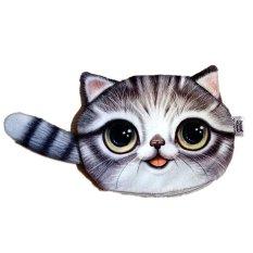 Tiba 3D Wajah Kucing Lucu Shiny Koin Mata Uang Pada Case Ritsleting Tas Dompet Abu Abu Muda International Diskon Tiongkok