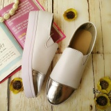 Spesifikasi Artshu Collection Women Flat Shoes Metal Roundtoe Slip On Casual Women Shoes Low Heeled Shoes Women Cream Murah Berkualitas
