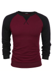 Top 10 Astar Coofandy Men S Casual Long Sleeve Pullover Tops Splicing Warna Longgar Kenyamanan Olahraga Hoodie Anggur Merah Online