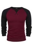 Astar Coofandy Men S Casual Long Sleeve Pullover Tops Splicing Warna Longgar Kenyamanan Olahraga Hoodie Anggur Merah Promo Beli 1 Gratis 1