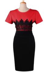 ASTAR Lady Wanita O Leher Cap Lengan Renda Penyambungan Pensil Bodycon Gaun Kontras Warna Cetak Dress (Merah)