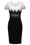Harga Astar Lady Wanita O Leher Cap Lengan Renda Penyambungan Pensil Bodycon Gaun Kontras Warna Cetak Dress Putih Oem Tiongkok