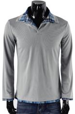 ASTAR Mens Casual Slim Fit Lengan Panjang Polo Shirt T-shirt Periksa Collar 3 Warna 3 Ukuran (Abu-abu Muda) ()