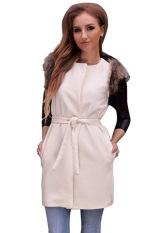 ASTAR Wanita Rompi Bulu Wanita Tanpa Lengan Warmer Vest Rompi Gilet Tanpa Lengan Jaket Lebih Tahan Dr Mantel (Putih)