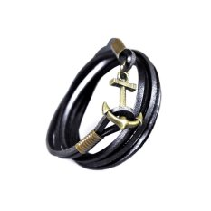 Obral Astersroid Leather Wrap Anchor Gelang Pria Murah