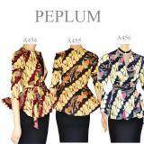 Toko Jual Atasan Blouse Batik Modern Stretch Peplum Lengan Panjang A455