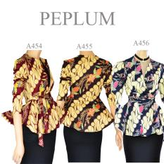 Harga Atasan Blouse Batik Modern Stretch Peplum Lengan Panjang A455 Dua Melati Ori