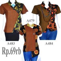 Spesifikasi Atasan Blouse Batik Sogan Lengan Pendek A483 Murah Berkualitas