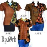 Toko Atasan Blouse Batik Sogan Lengan Pendek A484 Online