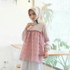Atasan Hijab Gaya Baru / Baju Linen Rubi / Blus Pink Lucu : Pinkys Top