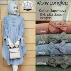 Atasan Wanita /Baju Muslim /Blouse Tunic Kemeja /Worie Long Top