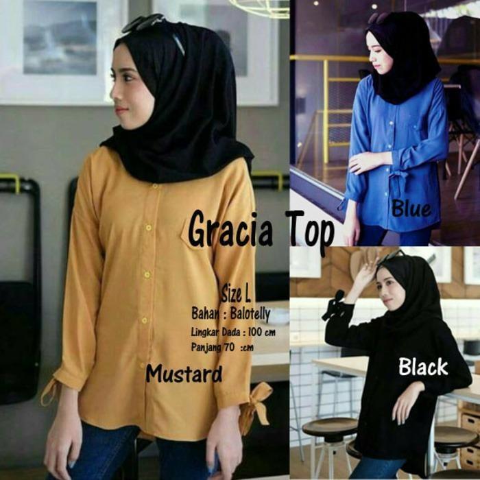 Atasan Wanita / Gracia Top Blouse / Tunik Baju Muslim Blus Muslim
