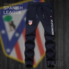 Atletico Madrid Tambah Beludru Laki-laki Baju Sepak Bola Pelatihan Celana Celana Olah Raga (Konvensional Celana Panjang Biru tua) panjang Pants Man Pria Celana Chino Celana Cargo