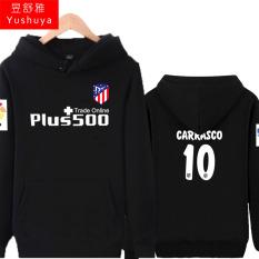 Atletico Madrid Tambah Beludru Pria Pakaian Baju Olahraga Jaket Hoodie (10 Hitam)