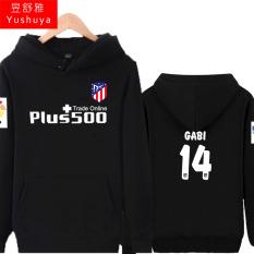 Atletico Madrid Tambah Beludru Pria Pakaian Baju Olahraga Jaket Hoodie (14, Hitam)