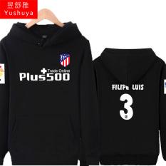 Atletico Madrid Tambah Beludru Pria Pakaian Baju Olahraga Jaket Hoodie (3, Hitam)