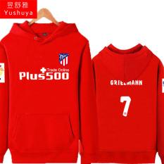 Atletico Madrid Tambah Beludru Pria Pakaian Baju Olahraga Jaket Hoodie (7 Merah)