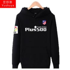 Atletico Madrid Tambah Beludru Pria Pakaian Baju Olahraga Jaket Hoodie (Hitam Depan)