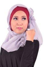 Atteenahijab Queen Mozza - Merah Hati Kombinasi Abu Muda