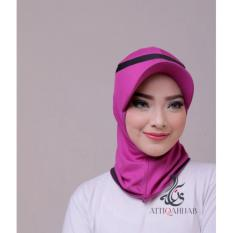 Attiqahijab Short Runner (Instant, Sport) Purple List Black