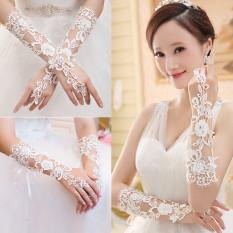 Audew Sarung Tangan Pengantin Berlian Imitasi Bunga Renda Hiasan Pesta Pernikahan Gaun Prom Sarung Baru-ต่างประเทศ