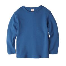 Augelute Warna Elegan Musim Semi atau Musim Gugur Lengan Panjang Leher Bulat Kaos Atasan (Biru Tua)