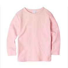 Augelute Warna Elegan Musim Semi atau Musim Gugur Lengan Panjang Leher Bulat Kaos Atasan (Pucat Bedak)