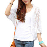Jual Aukey Hollowed Dolman Lengan Rajutan Crochet Shirt Putih Indonesia