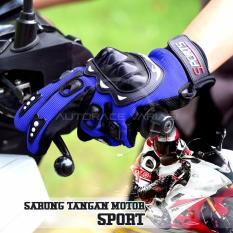 Jual Autorace Sarung Tangan Sport Panjang Glove Rider Pelindung Tangan Motor Touring Blue Indonesia