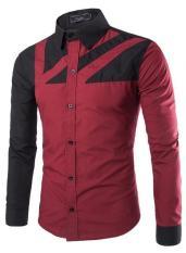 Spesifikasi Musim Gugur Dan Musim Dingin Gaya Baru Warna Pencocokan Casual Men Long Sleeved Shirt Anggur Merah Terbaru