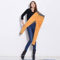 Beli Musim Gugur Dan Musim Dingin Wanita Baru Tebal Plus Velvet Peregangan Denim Celana Elastis Pinggang Slim Pensil Jeans Navy Blue Intl Oem Online