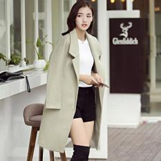 Spek Musim Gugur Dan Musim Dingin Wanita Slim Fit Wol Mantel Korea Gaya Lapel Lengan Panjang Kasual Jaket Outwear Fashion Wol Blazer Hijau Muda Internasional Oem