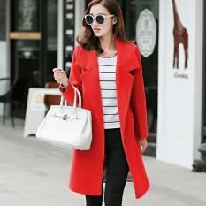 Musim Gugur dan Musim Dingin Wanita Slim Fit Wol Mantel Korea Gaya Lapel Lengan Panjang Kasual Jaket Outwear Fashion Wol Blazer -merah-Intl