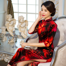 Musim Gugur Panjang Bagian 3/4 Sleeve Velvet Baju Cheongsam (Rose Red)-Intl