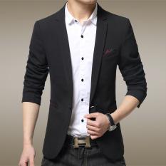 Jual Musim Gugur Perempuan Kecil Setelan Bisnis Pria Kasual Suit Jaket Tipis Panjang Single Breasted Lengan Hitam