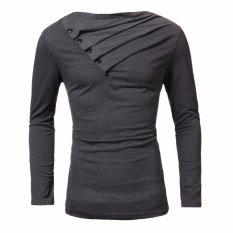 Pria Musim Gugur Tinggi Elastis Kapas Celana Pria Lengan Panjang Ketat T-Shirt Oblique Tombol Slim Fit T-Shirt Atasan Padat Tee 2XL (Dark Grey) -Intl