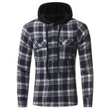 Spesifikasi Pria Untuk Musim Gugur Button Down Periksa Hoodie Sweatshirt Biru Intl Yg Baik
