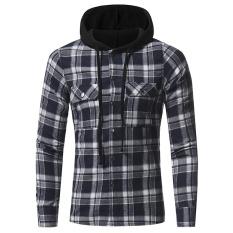 Jual Pria Untuk Musim Gugur Button Down Periksa Hoodie Sweatshirt Biru Intl Oem Ori