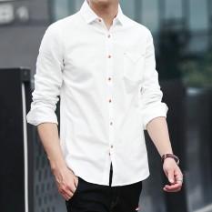 Pria untuk Musim Gugur Baju Lengan Panjang, Warna Murni, Liburan, SLIM, Siswa Muda, Siswa Muda, Versi Korea dari Gaya Musim Panas-Intl