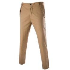 Musim Gugur Pria Kasual Slim Pants Solid Warna Pola Bisnis Celana Lurus (khaki)-Intl