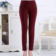 Musim Gugur Tengah Umur Wanita Ladies Pakaian Pinggang Pinggang Tinggi Kasual Elastis Stretch Trouser Merah Intl Tiongkok Diskon 50