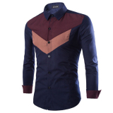 Musim Gugur Baru Korea Pria Spell Color Jahitan Menunjuk Kerah Kemeja Lengan Panjang Gaun Bisnis Shirt Navy Not Specified Diskon 30