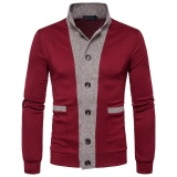 Ulasan Mengenai Autumn New Style Fashion Hit Color Korean Men Clothes Slim Fit Casual Long Sleeve Cardigan Sweater Coat (Wine Red) Intl
