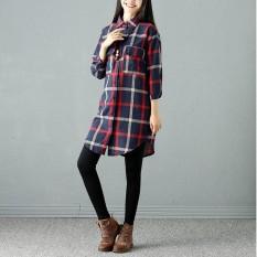 Pakaian Musim Gugur Baru Mori Wanita Fat MM Retro Longgar Gaun Jaket, Kotak-kotak Kemeja Panjang-Internasional