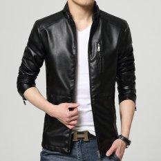 Musim Semi Musim Gugur Baru Fashion Pria Kulit Jaket Pemuda Pria Zipper Kasual Mantel Jaket Intl Oem Diskon 40