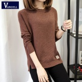 Harga Musim Gugur Sweater 2017 Winter Women Fashion Seksi O Leher Kasual Wanita Sweater And Pullover Hangat Lengan Panjang Rajutan Sweater Brown Vangull Ori