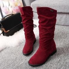 Dapatkan Segera Musim Gugur Musim Dingin Boots Wanita Manis Boot Datar Bergaya Flock Sepatu Bot Salju Internasional